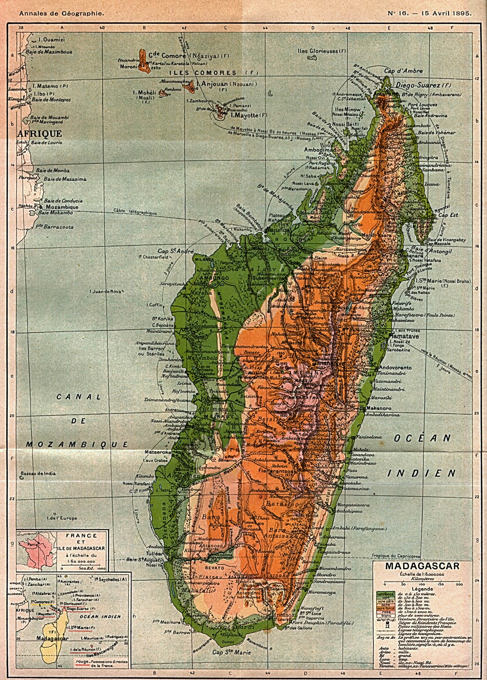 1895 Map - Moroni & Comoros Islands